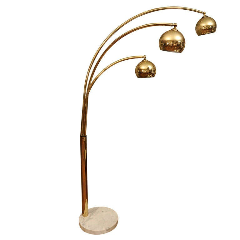 Large Standing Arc Brass Lamp With Marble Base At 1stdibs