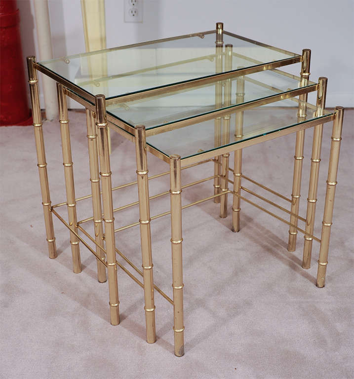 Marvelous Set Of Three Mid Century Brass Nesting Tables 2