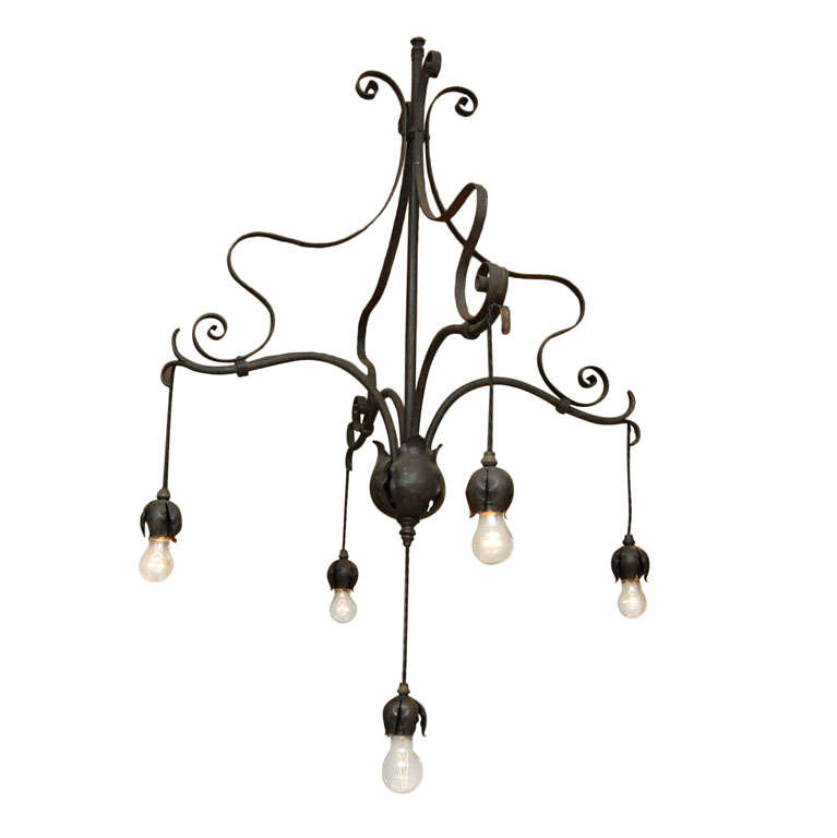 Art nouveau hanging fixture at 1stdibs for Art nouveau lighting fixtures