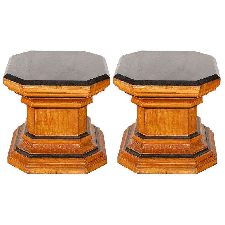 Pr Octagonal Pedestals with Marble Tops