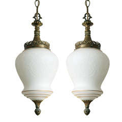 Pr Pendants,White,Gilt, Engraved, White on White Filigree moving sale from$3000
