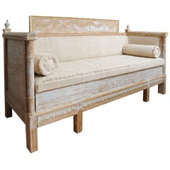 Early Gustavian Bench with beautiful carved decoration all around.