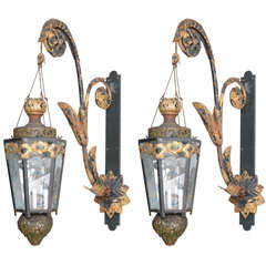 Pair of Gilt Wrought Iron Chandeliers with Gilt Brackets