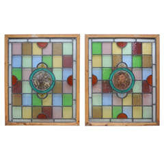 Pair of Erotic Stained Glass Windows