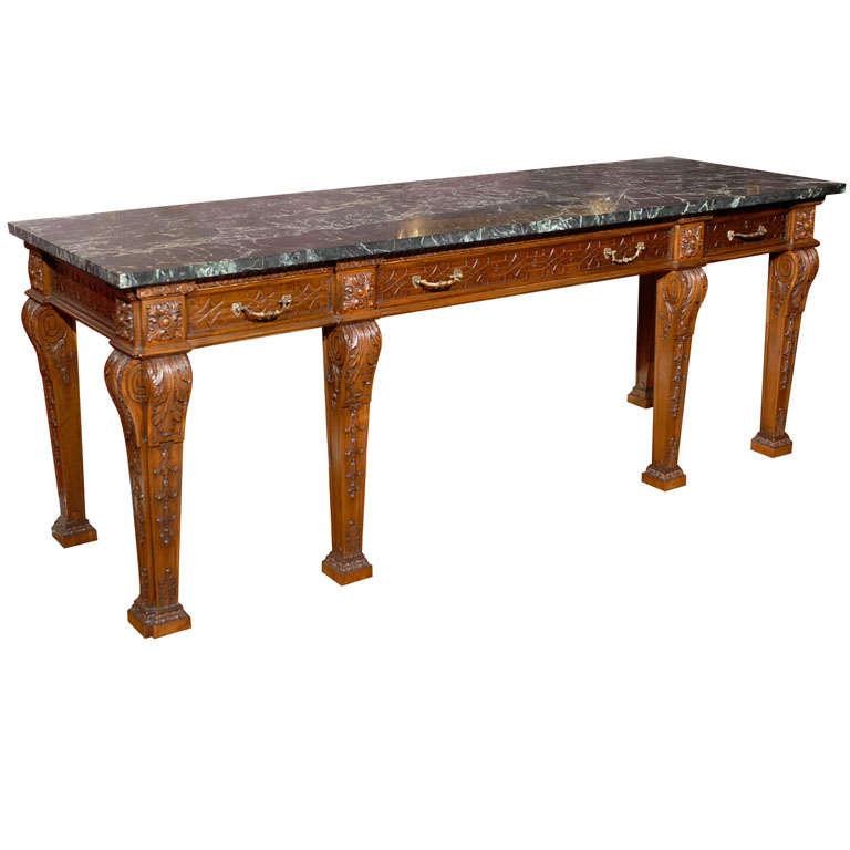 Large 19th century irish mahogany console table w marble for Sofa table ireland