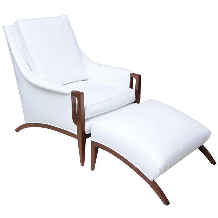 an italian modern mahogany armchair and ottoman at 1stdibs