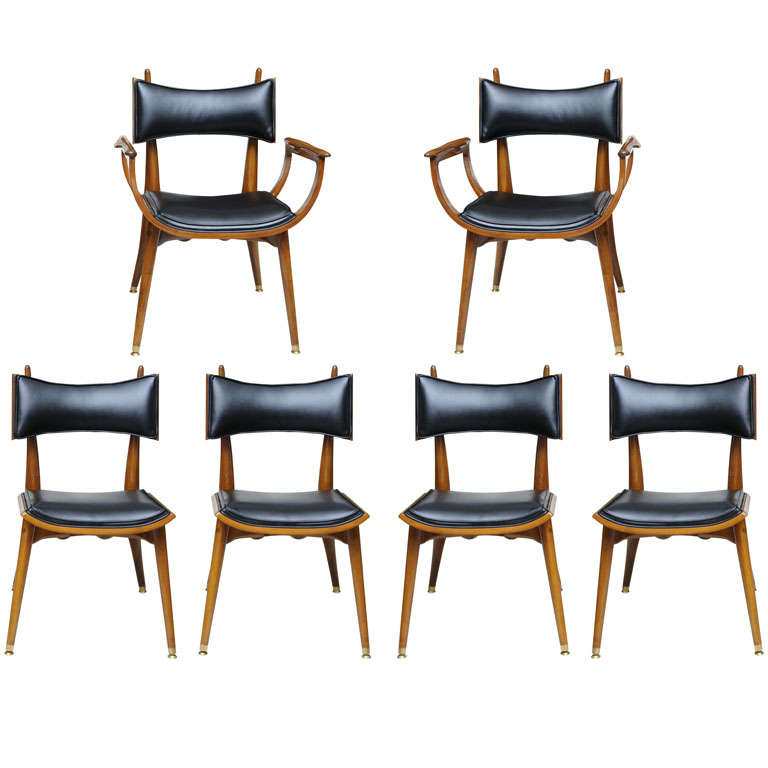 fine set of twelve italian modern dining chairs 1950s 1