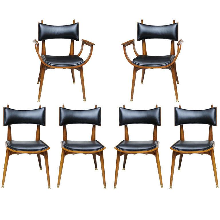 fine set of twelve italian modern dining chairs 1950s 1