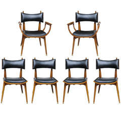 Fine Set of Twelve Italian Modern Dining Chairs, 1950s