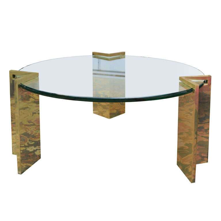 1970 39 S Brass And Glass Cocktail Table By Leon Rosen At 1stdibs