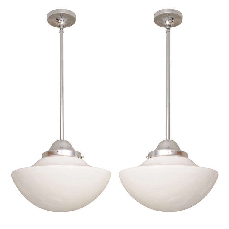 Pr/Mid century WHITE CEILING PENDANTS drastic REDUCTION from $4000 moving sale