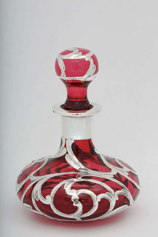 Sterling Silver Overlay Cranberry Glass Perfume Bottle 4