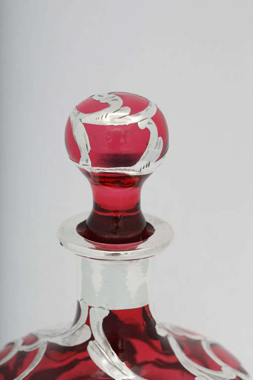 Sterling Silver Overlay Cranberry Glass Perfume Bottle 5