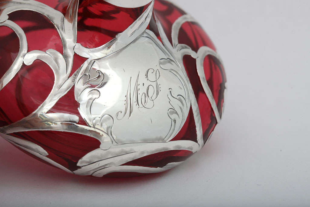 Sterling Silver Overlay Cranberry Glass Perfume Bottle 6