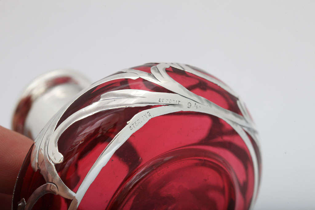 Sterling Silver Overlay Cranberry Glass Perfume Bottle 8