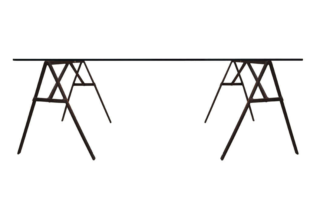 Industrial Iron Sawhorse and Glass Desk 2