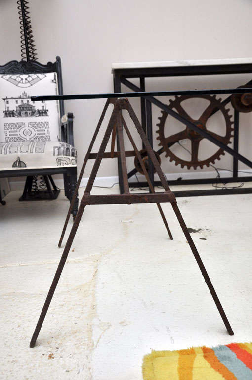 Industrial Iron Sawhorse and Glass Desk 3