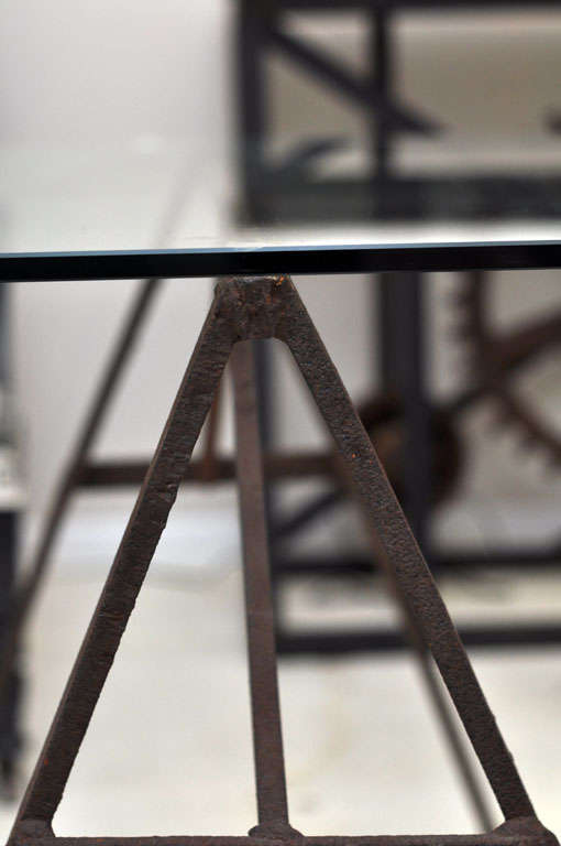 Industrial Iron Sawhorse and Glass Desk 7