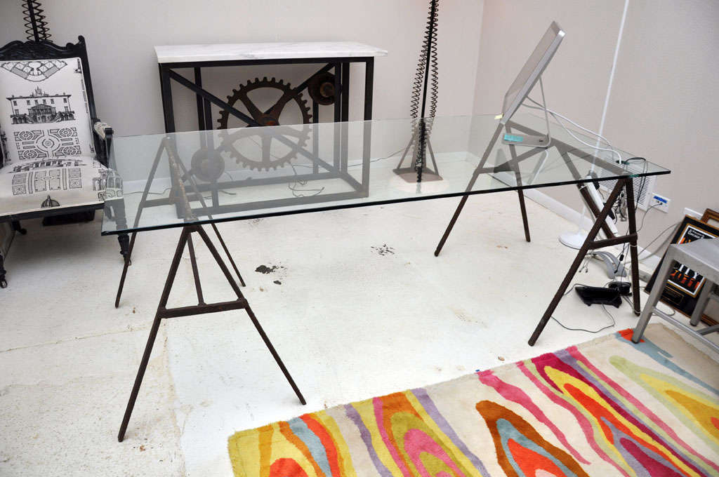 Industrial Iron Sawhorse and Glass Desk 8