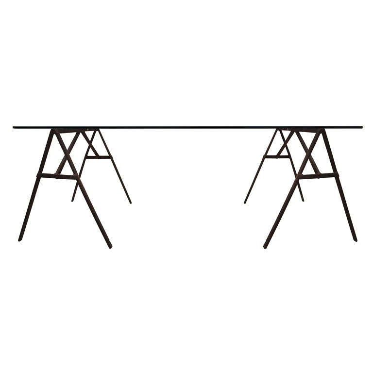 Industrial Iron Sawhorse and Glass Desk 1