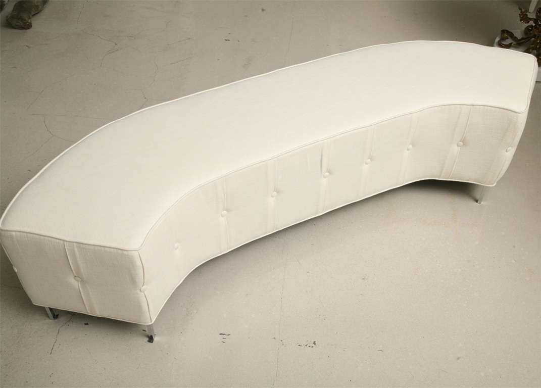 Pair Of White Tufted Semi Circular Benches At 1stdibs