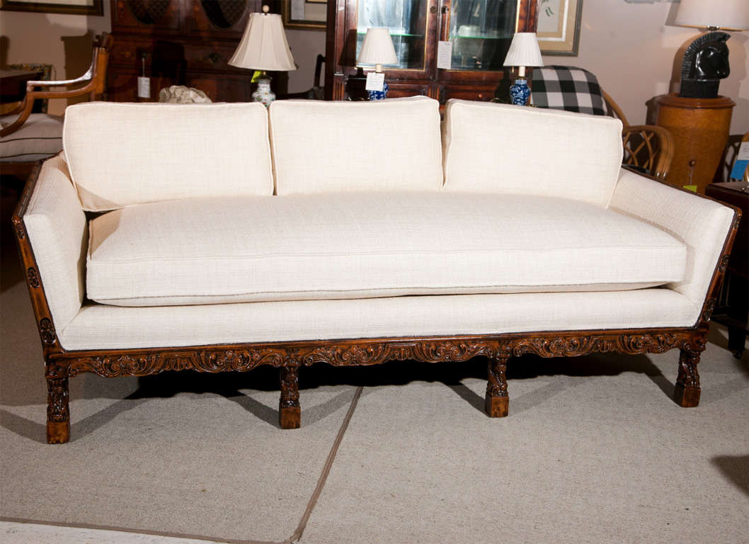 Carved wood frame sofa at stdibs