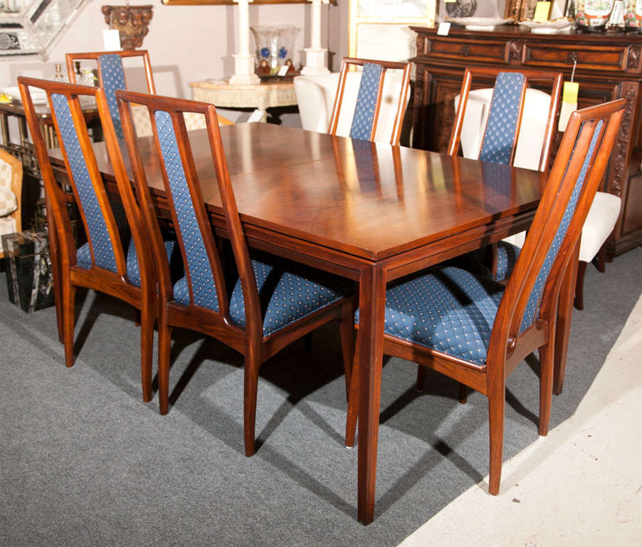 stuart rosewood inlaid walnut dining table with six chairs at 1stdibs