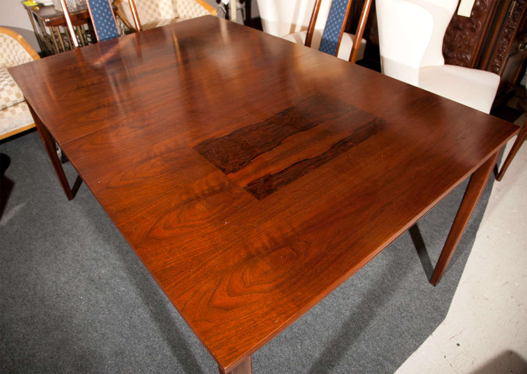 John Stuart Rosewood Inlaid Walnut Dining Table With Six