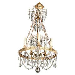 Antique Bronze and Crystal Five Light Chandelier