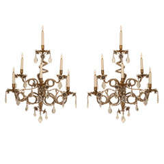 Outstanding Pair of 19Th. C. Bagues Crystal Sconces