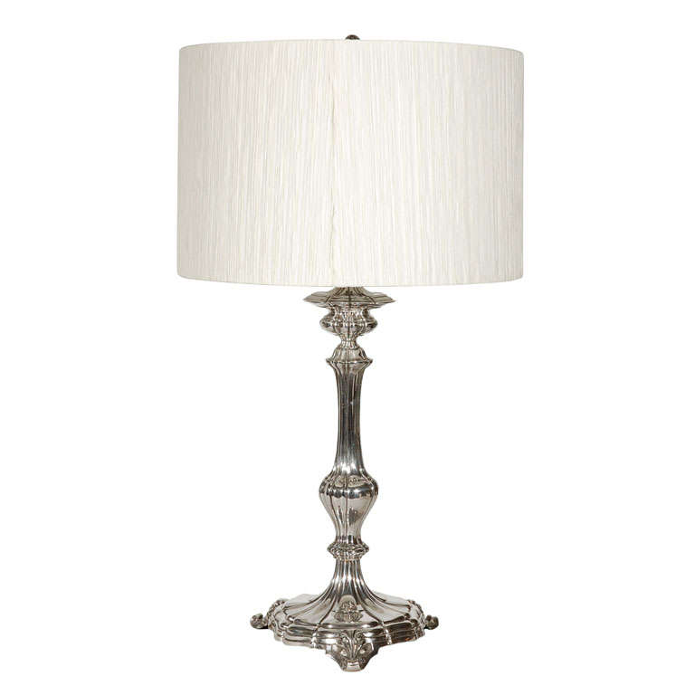 silver plated table lamp with custom silk shade for sale at 1stdibs. Black Bedroom Furniture Sets. Home Design Ideas
