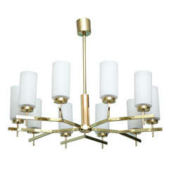 Fine Italian Modern Brass and Glass Ten-Light Chandelier