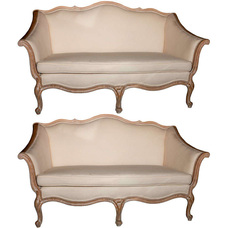 Pair of louis xv style canap s for sale at 1stdibs for Canape style louis xv