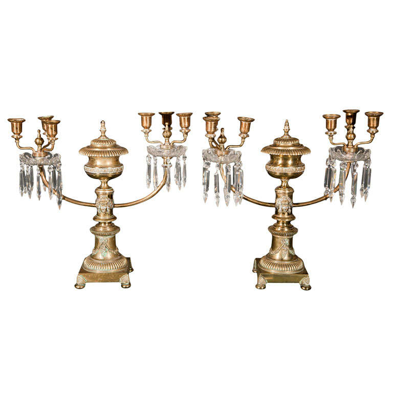 Pair of Brass Argand Two-Arm Candelabra Lamps