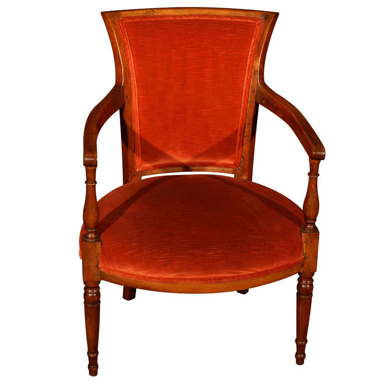 french walnut directoire fauteuil at 1stdibs. Black Bedroom Furniture Sets. Home Design Ideas