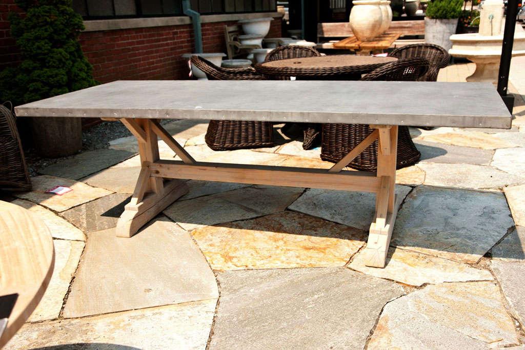 Belgian Zinc Toptrestle Base Farm Table At Stdibs - Farm table trestle base