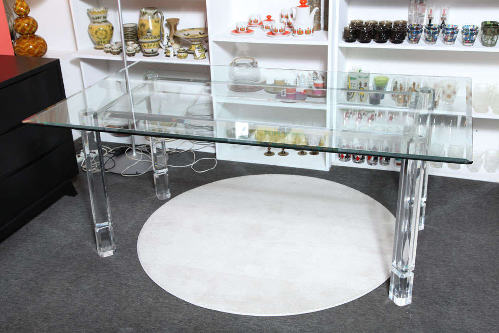 Beautiful lucite and glass top dining room desk table at for Beautiful glass dining room tables