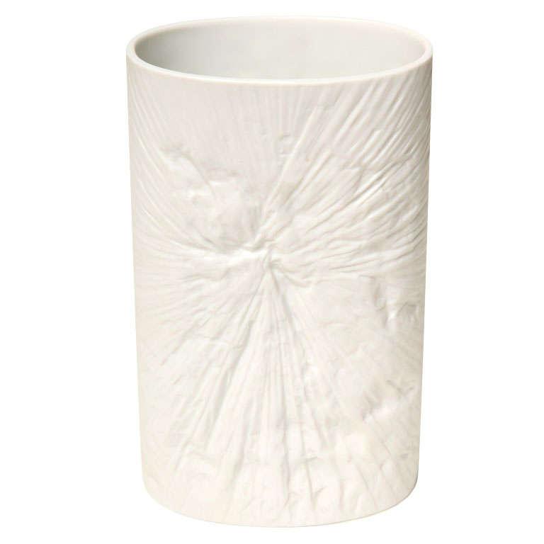 White On White Impressed Porcelain Tie Die Rosenthal Vase