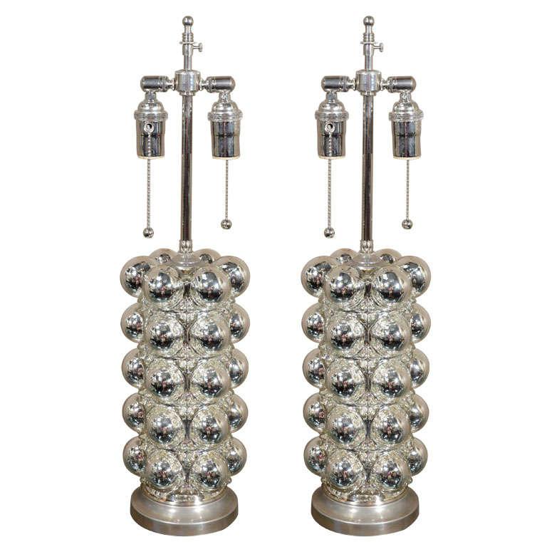 Pair of Mercury Glass Bubble Lamps