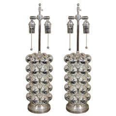 Pair of Mercury Glass Bubble Lamps