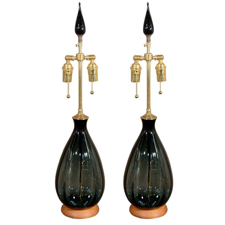 Blenko Blue Smoke Glass Lamps