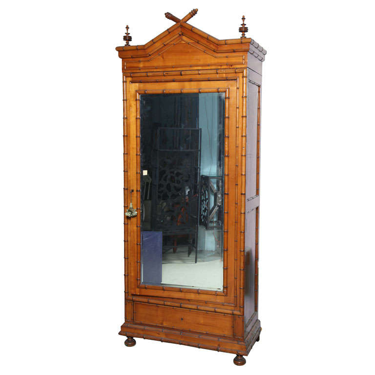 19th century large english faux bamboo armoire at 1stdibs. Black Bedroom Furniture Sets. Home Design Ideas