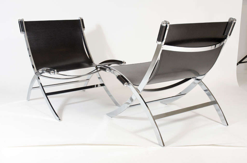 Pair Of Scissor Frame Sling Chairs After Paul Tuttle At