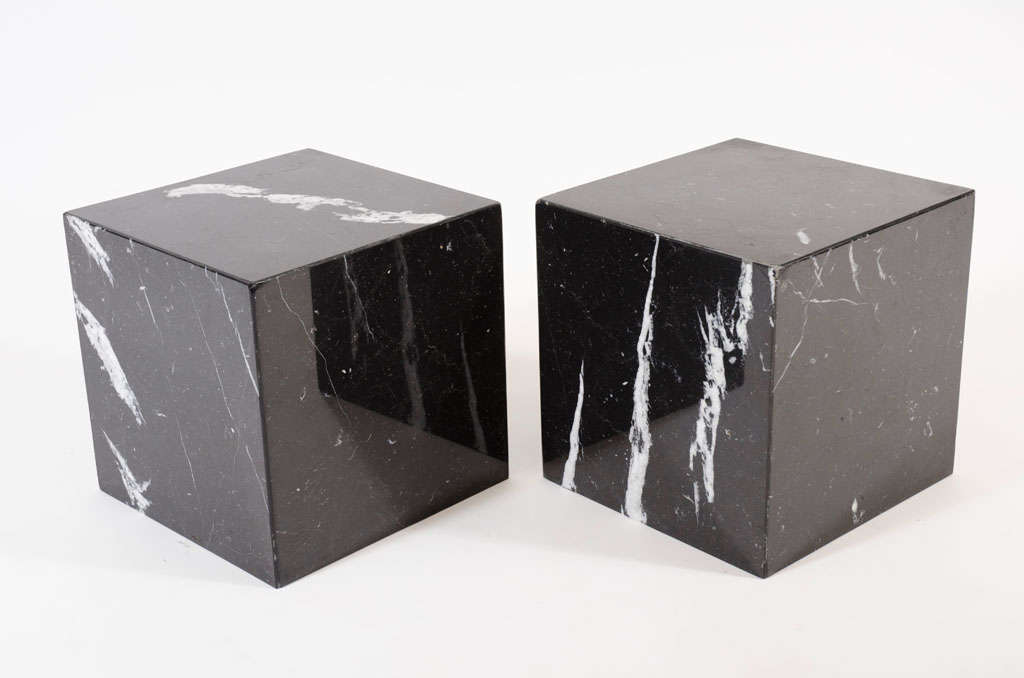 Nice Pair Of Negro Marquina Spanish Marble Cube Side Tables By Pace 2
