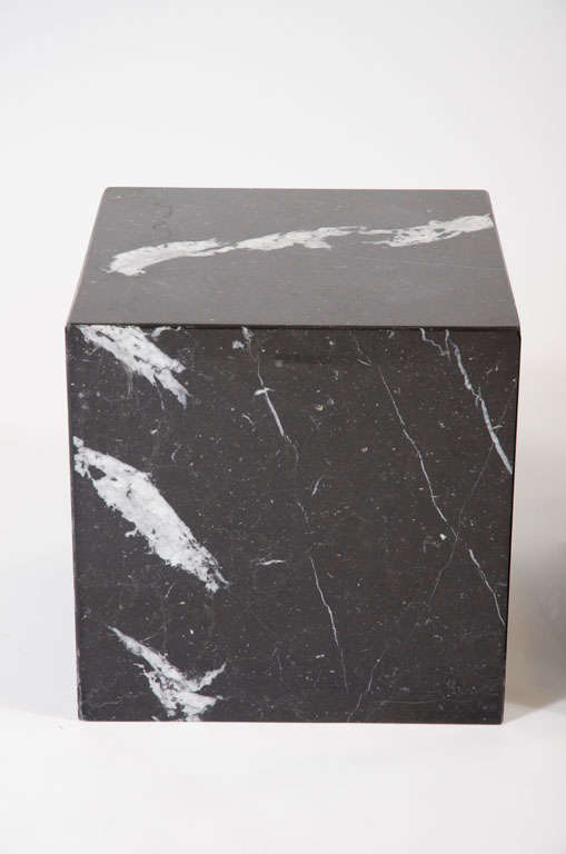 Pair Of Negro Marquina Spanish Marble Cube Side Tables By