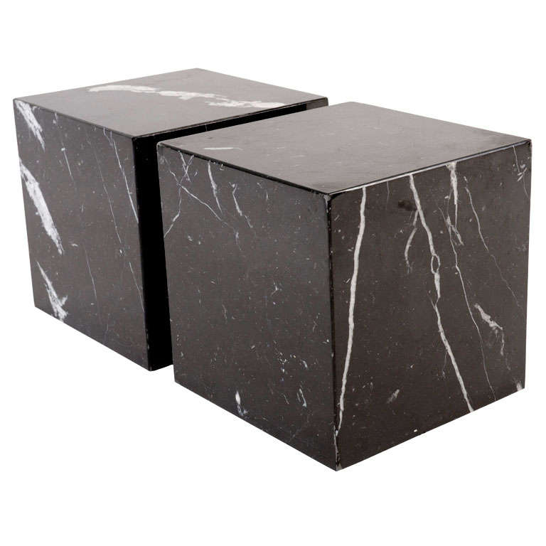 Pair Of Negro Marquina Spanish Marble Cube Side Tables By Pace For Sale