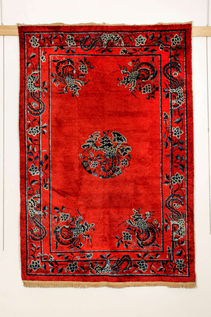Imperial Chinese Red Silk Rug With Phoenixes For Sale At