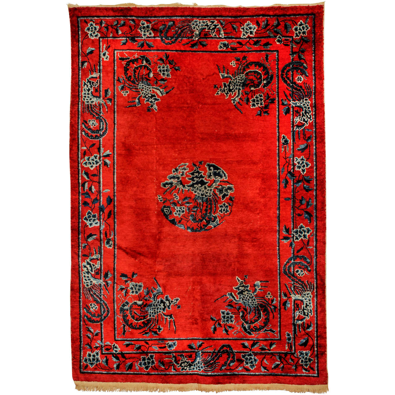 Imperial Chinese Red Silk Rug with