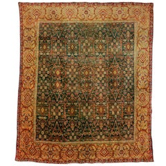 Emerald Green Fine Antique Indian Agra Rug