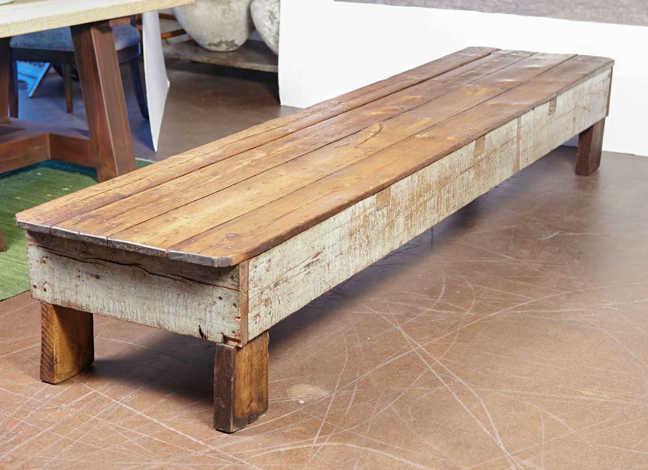 French Shop Pine Bench Used For Long Coffee Table Or Low Side Table At 1stdibs